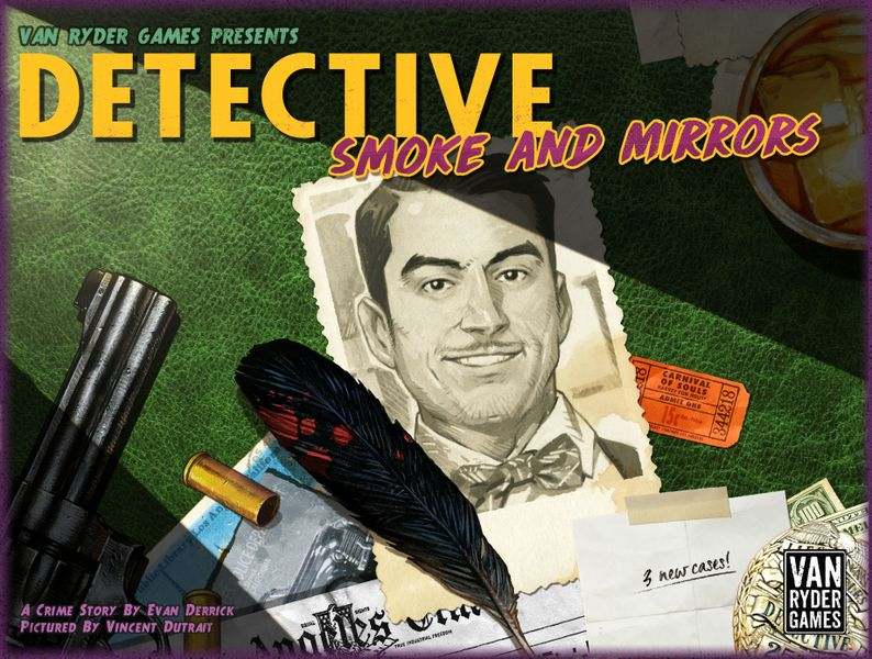The box cover for the Smoke & Mirrors expansion for Detective: City of Angels.