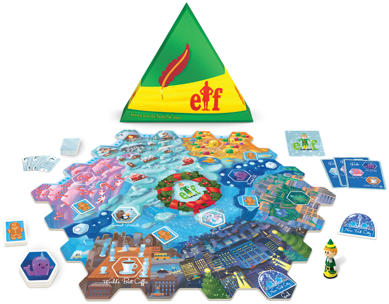 Elf: Journey from the North Pole, Funko Games, 2020 — box and components (image provided by the publisher)
