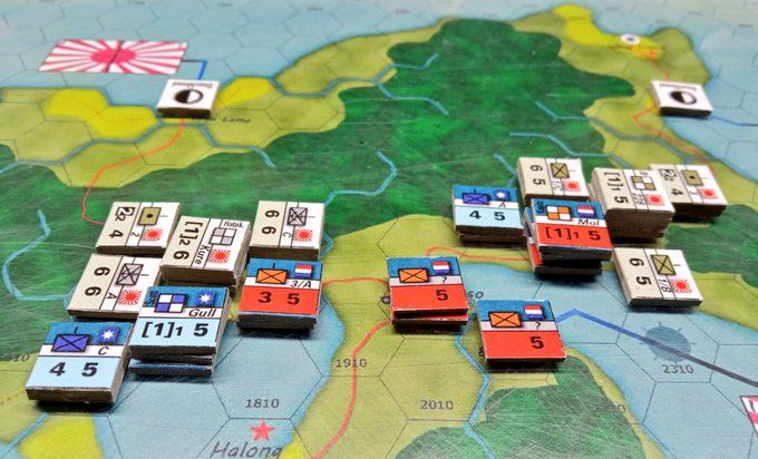 Playtesting the game: close-up around the isthmus at Paso.