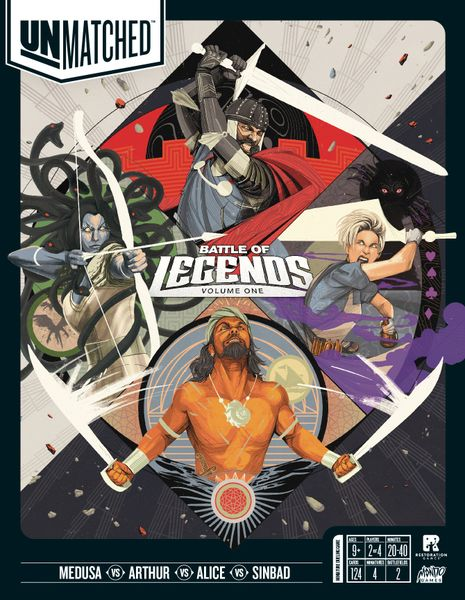 Unmatched: Battle of Legends, Volume One, Restoration Games/Mondo Games, 2019 — front cover (image provided by the publisher)