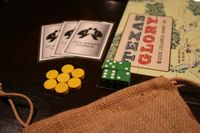Essentials for proper enjoyment of Texas Glory! A bag so your Texan pieces do not get worn from shuffling on a table, green dice for the Mexican player, card sleeves to avoid marking your cards, and alternative burn counters which leave more room for unit