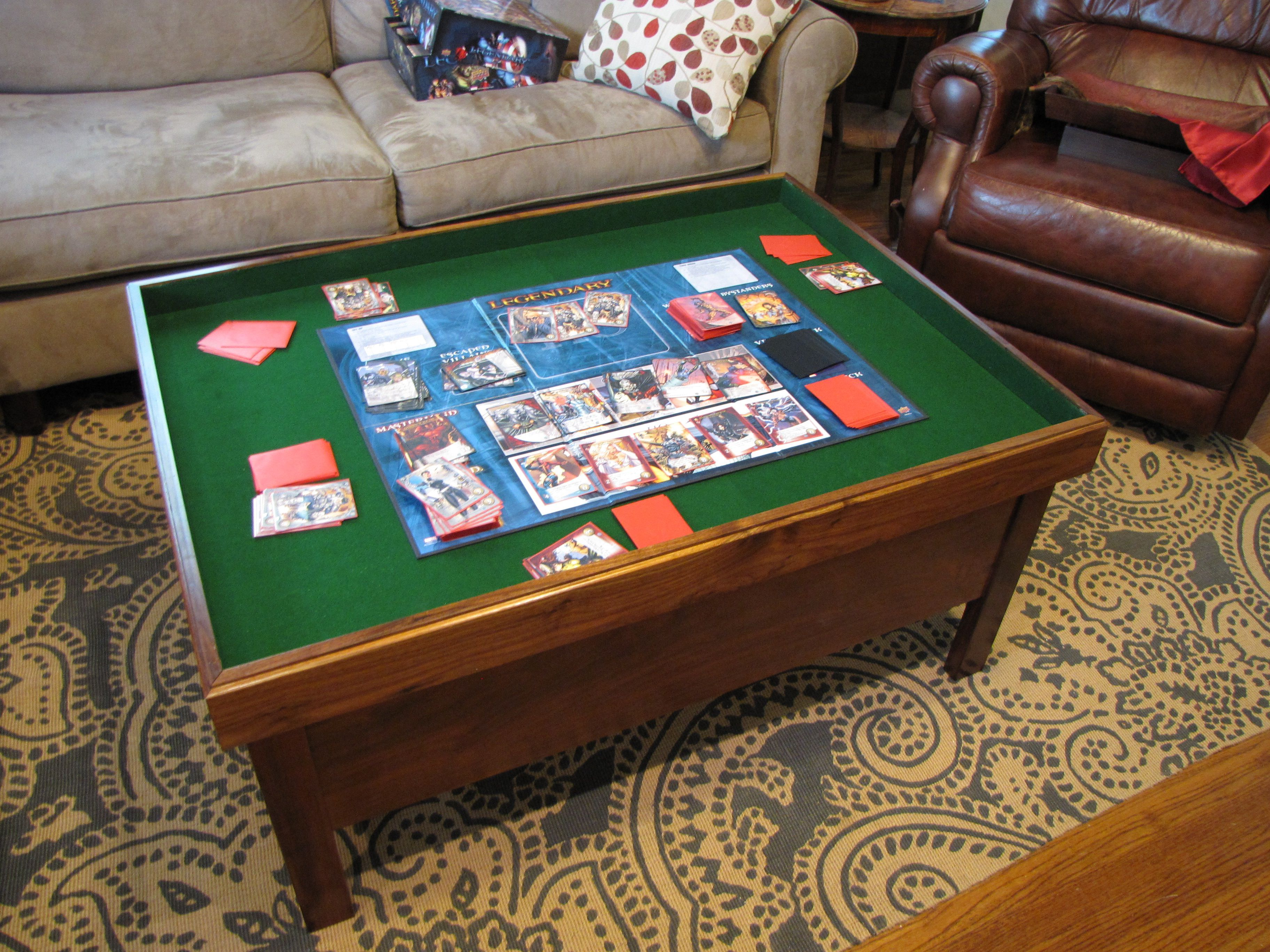 Heirloom Wood Gaming Coffee Table just arrived