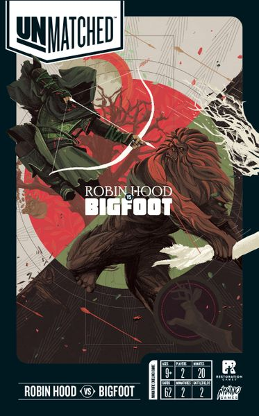Unmatched: Robin Hood vs. Bigfoot, Restoration Games/Mondo Games, 2019 — front cover (image provided by the publisher)