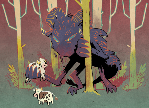 Roving Terror card art from Oath the Board Game; a monster picks up a cute but scared cow. Art by Kyle Ferrin