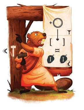 SPQF illustration of a badger holding a hammer appearing to yell  instructions to others