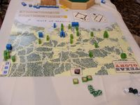 2012 Prezcon final, end of game position. The US intervened but failed to dislodge Santa Ana's troops from San Agustine, survivors having to retreat south. However Texans hold on to 4VP cities by successfully defending Harrisburg for the win!