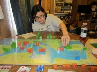 My wife leading the Pompeian forces to victory. Pompey died in the first turn, but the game came down to the last turn, she edged me out by 2 points by a last ditch march on Rome. Very good game.