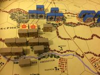 1st Day solo - Situation at end of 4th turn. Pender's division has arrived behind Heth's battered command, but Doubleday and Robinson nearing the battlefield. Federals can confidently expect to hold Seminary Ridge for a bit longer. Had to stop there. Real