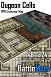 "RPG Item: Dungeon Cells 48"" x 24"" RPG Encounter Map"