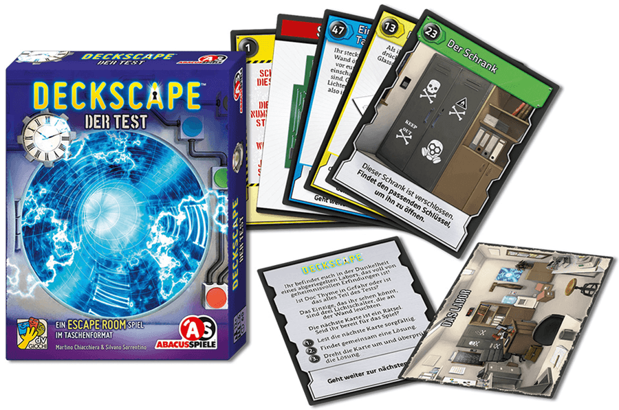 Deckscape: Der Test, ABACUSSPIELE, 2017 — box and sample cards (image provided by the publisher)
