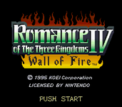 Video Game: Romance of the Three Kingdoms IV: Wall of Fire