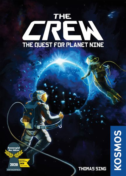 The Crew: The Quest for Planet Nine, KOSMOS, 2020 — new box front highlighting the Kennerspiel award (image provided by the publisher)