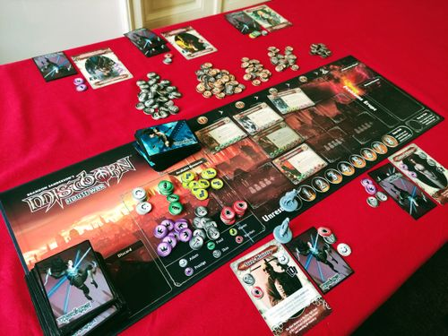 """In Mistborn Housewar each player takes control of one of the houses, that anyone who has read the books will recognize.  Each round new """"problems"""" will flip out onto the board and progress across it.  Then the active player will have the option to attempt to solve a problem.  To solve a problem you will have to pay the resources listed on the bottom of the card.  Solving the problem will reward you with victory points.  Now here is the catch.  Odds are you are not going to be able to solve any problems on your own, you simply do not gain that many resources, and in some cases you might not earn some of the resources at all."""