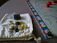 My wooden markers: cylinders for turn (black) and battle location (white), cubes for roads blocked (black) or leading to battle (gray) and for DF units (yellow).