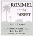 Columbia Games 1985 advert for Rommel in the Desert