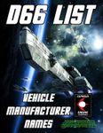 RPG Item: d66 List: Vehicle Manufacturer Names