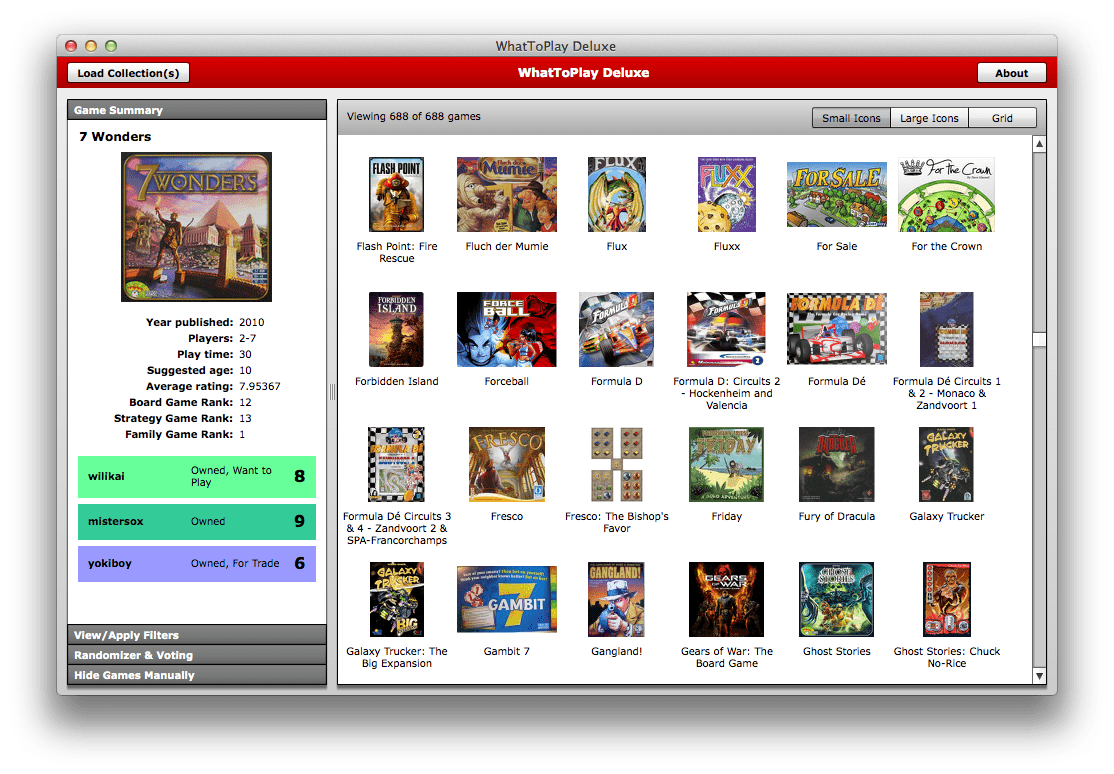 Screenshot from WhatToPlay Deluxe, a new version of the program that helps you select which game from your collection to play!