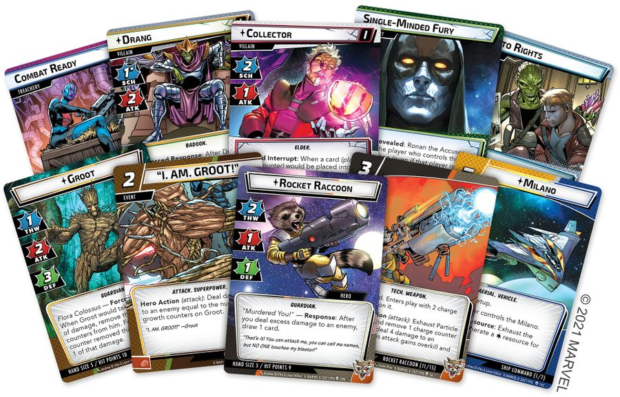 Marvel Champions: The Card Game – The Galaxy's Most Wanted, Fantasy Flight Games, 2021 — sample cards (image provided by the publisher)