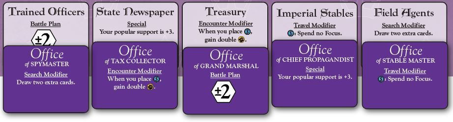 Prototype officer cards for the print and play of Oath: Chronicles of Empire and Exile