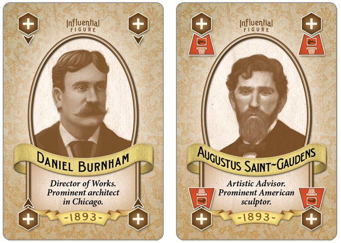 Two Influential Figure cards: Daniel Burnham (left) and Augustus Saint-Gaudens (right).