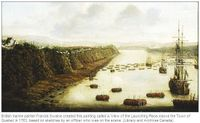 Francis Swaine's 1763 painting of the landing upriver from Quebec
