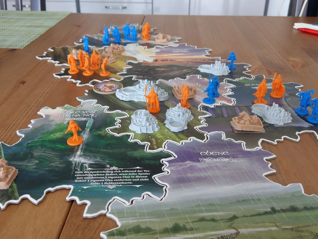 Board game Inis set up on a tabletop for solo play. (Cole won.)