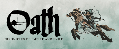 Image with the title art for Oath: Chronicles of Empire and Exile, featuring a mounted archer ready to loose an arrow. Art by Kyle Ferrin
