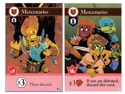 Two iterations of the Mercenary card from Oath the board game, art by Kyle Ferrin