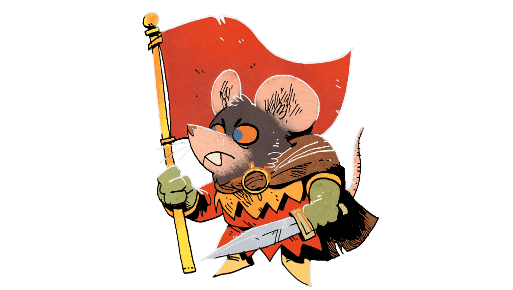 Art of the Warlord by Kyle Ferrin. Determined rat holding a red banner