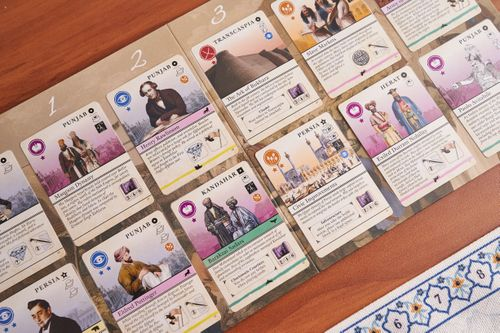 The Market, an array of cards as an example from Pax Pamir