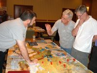 [Edited] One of the EuroFront II playtest tables at Consimworld Expo 2005
