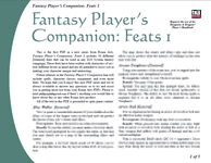 RPG Item: Fantasy Player's Companion: Feats 1