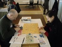 Richard Sivel and his lovely wife, Tatiana, playing Napoleon: The Waterloo Campaign, 1815 @LeiriaCon 2011, Portugal.