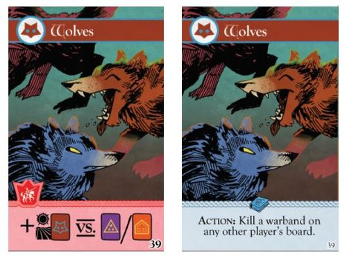 Two iterations of the Wolf card from the Oath board game; art by Kyle Ferrin
