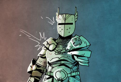 Illustration from the Treasure card, Armor, from Vast: The Mysterious Manor board game