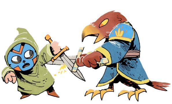 illustration of a masked figure defending itself from an attack by a much larger bird