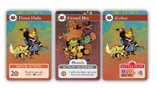 Cards from Oath the board game: Forest Paths, Errand Boy and Wolves; art by Kyle Ferrin