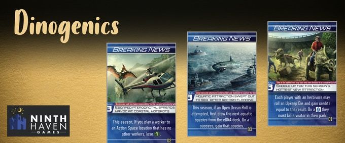 DinoGenics: Breaking News Cards – Dice Tower 2020 Event Promos