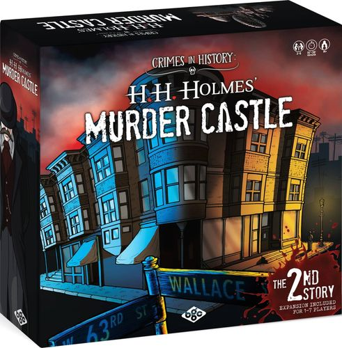 Crimes in History: H. H. Holmes' Murder Castle, Blueprint Gaming Concepts, 2021 — box front (image provided by the publisher)