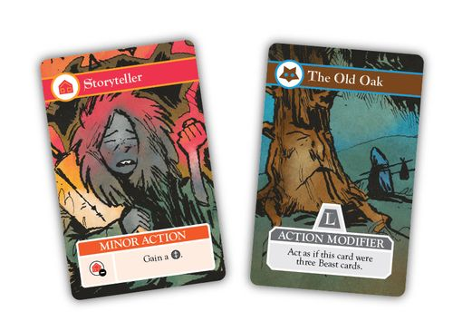 Two cards from Oath the Board Game: Storyteller and The Old Oak. Art by Kyle Ferrin