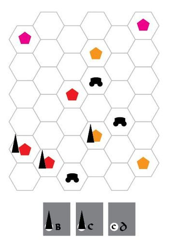 A playtest board from the 3rd iteration of Oath Cole ultimately threw away