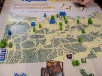 2012 Prezcon final, position at start of last turn. The final US block has been drawn, the US will intervene! Texans are holding their 4VP cities though, so the pressure is on the Mexicans to do something.They had just failed by 1 pip to dislodge the Texa
