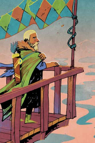 Scouts card art from Oath the Board Game; a man with cape and quiver stands at the rail of a ship. Art by Kyle Ferrin