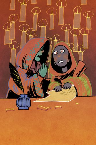 Gossip card art from Oath the board game. A hooded figure whispers into the ear of another. Art by Kyle Ferrin