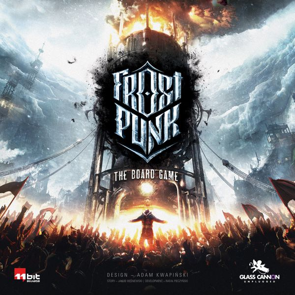 Frostpunk: The Board Game, Glass Cannon Unplugged, 2021 — front cover (image provided by the publisher)