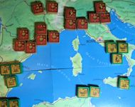 Julius Caesar Solo: The main arena at the start of the game.  All blocks are face up as it IS a solo game.