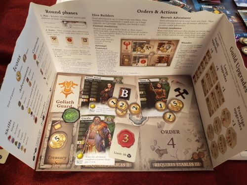 Adventurer teams with order cards and gold assigned, ready to go.