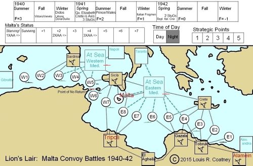 Board Game: Lion's Lair:  Malta Convoy Battles 1940-42