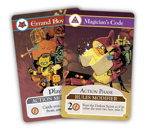Cards from Oath the Board Game: Errand Boy and Magician's Code; art by Kyle Ferrin