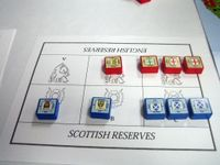 Scottish and English units clash on a battle board.  (Printable file found on the 'Geek)